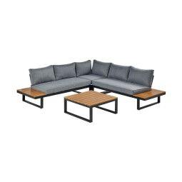 Комплект мебели садовый Pooffe Manhattan | Черный / Коричневый / Серый