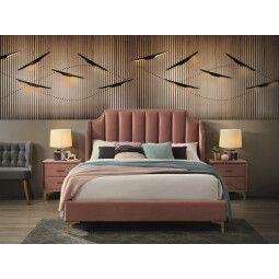 Кровать Signal Monako Velvet | 160х200 / Античный розовый / Золотой