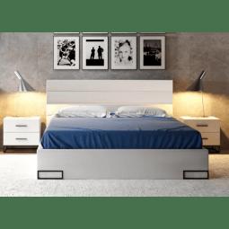 Кровать Gerbor Мерс ДСП LOZ 160 | 160x200 / Нимфея альба / Черный