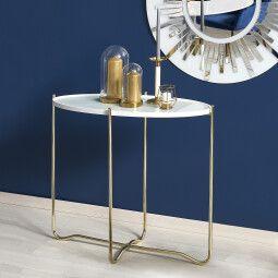 Столик Halmar KN-2 | Золотой / Белый