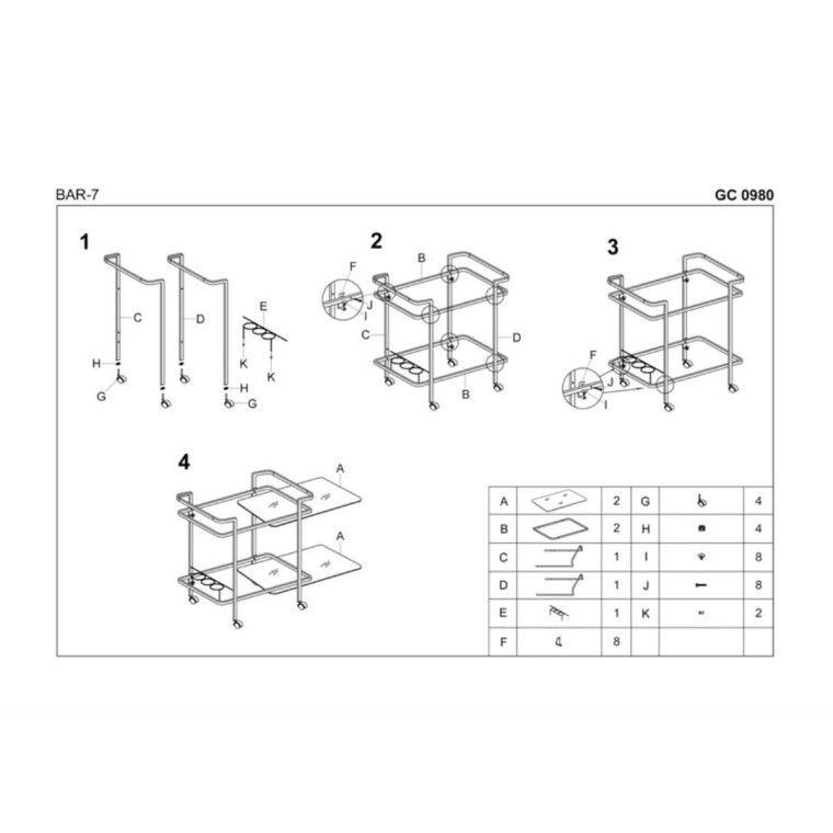 Стол сервировочный Halmar Bar-7 | Черный - 2