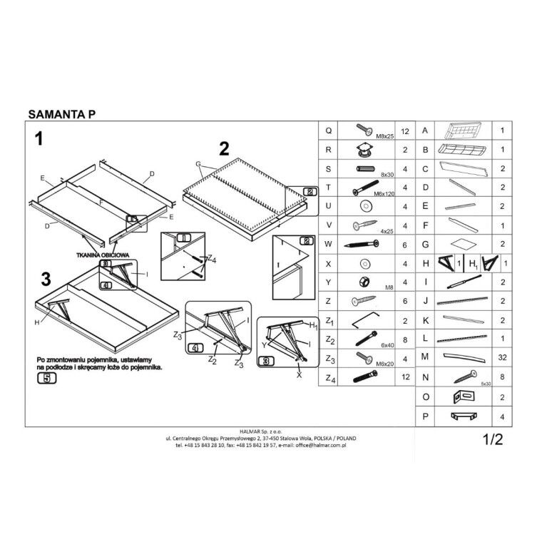 Кровать Halmar Samanta P | 160х200 / Коричневый / Бежевый - 2