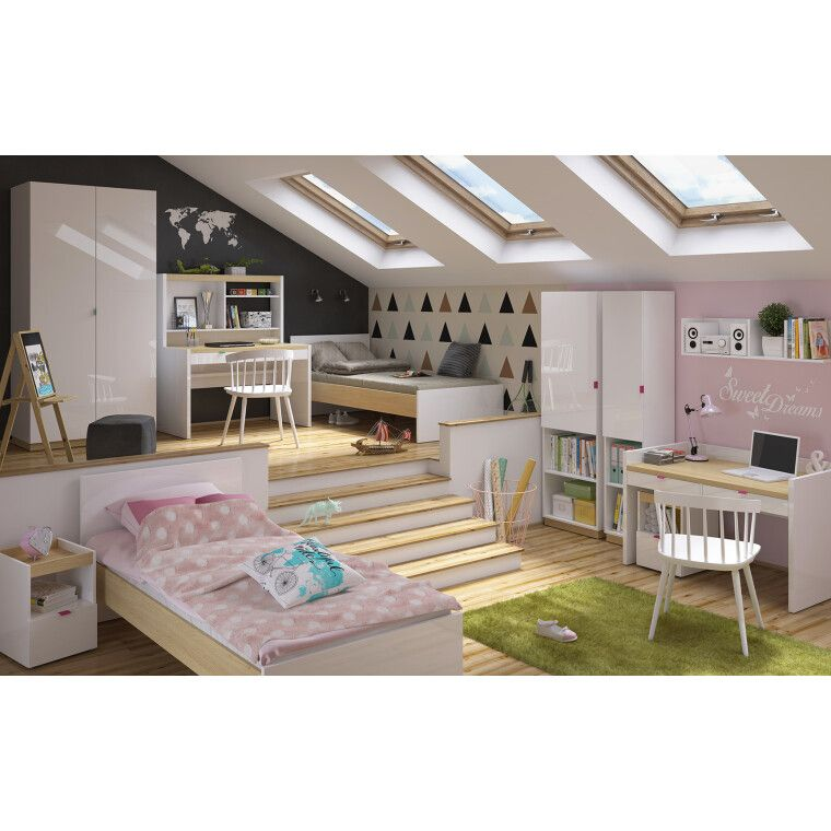 Двухъярусная кровать BRW Princeton | Белый / Дуб польский - 4