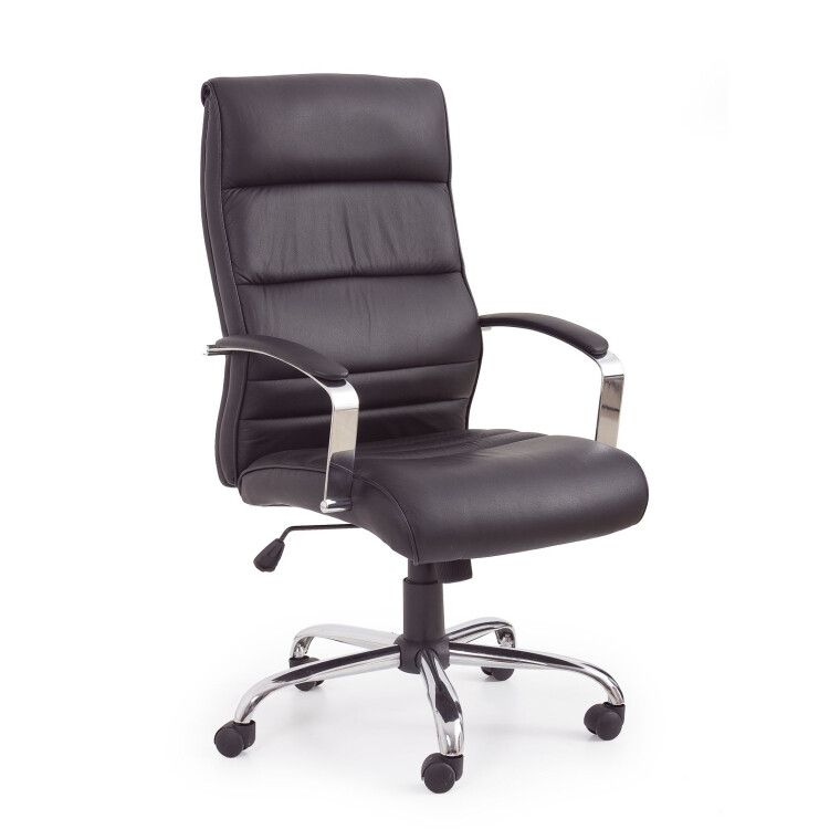 Кресло поворотное Halmar Teksas | Черный / Натуральная кожа