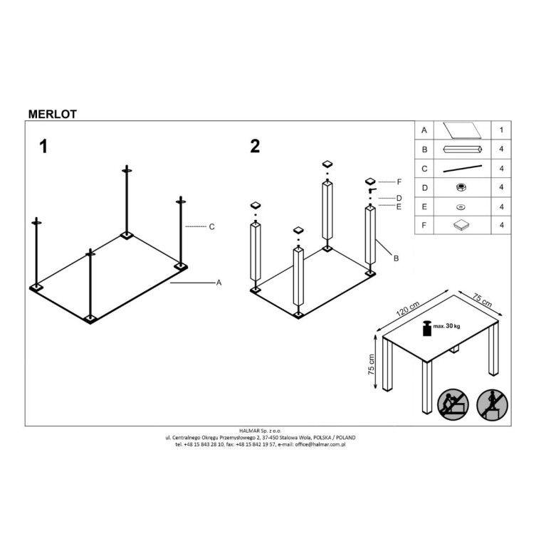Стол обеденный Halmar Merlot | Белый - 2