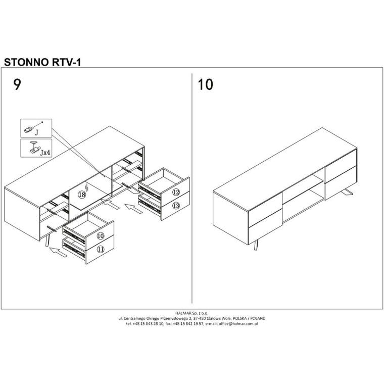 Тумба под ТВ Halmar Stonno RTV1 | Белый / бетон - 10