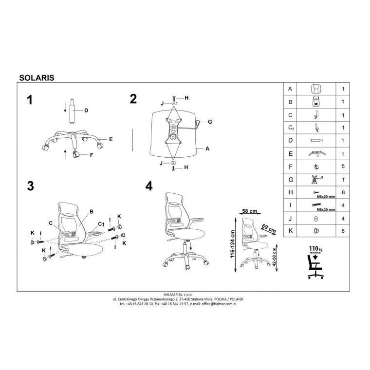 Кресло поворотное Halmar Solaris | Черный / серый - 2