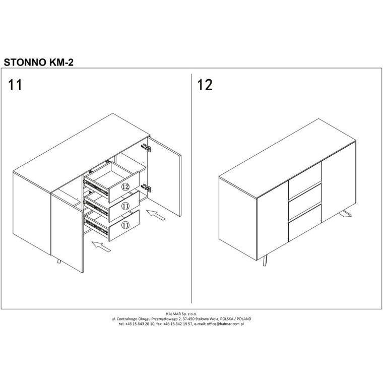 Комод Halmar Stonno КМ2 | Белый / бетон - 8