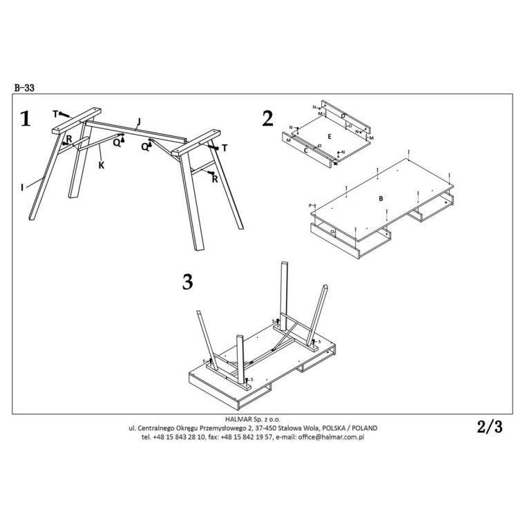 Стол письменный Halmar B-33 | Дуб Сонома / Белый - 3