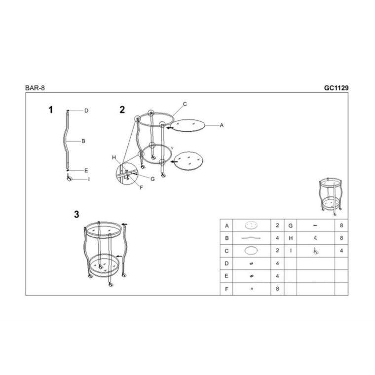 Стол сервировочный Halmar Bar-8 | Черный - 2