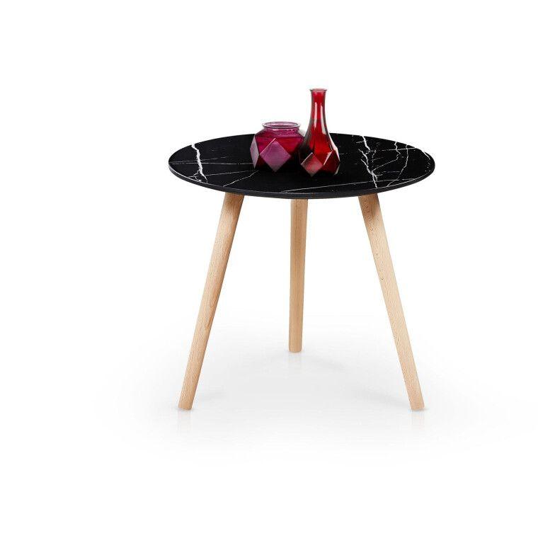 Журнальный столик Halmar Aida | Черный мрамор / бук