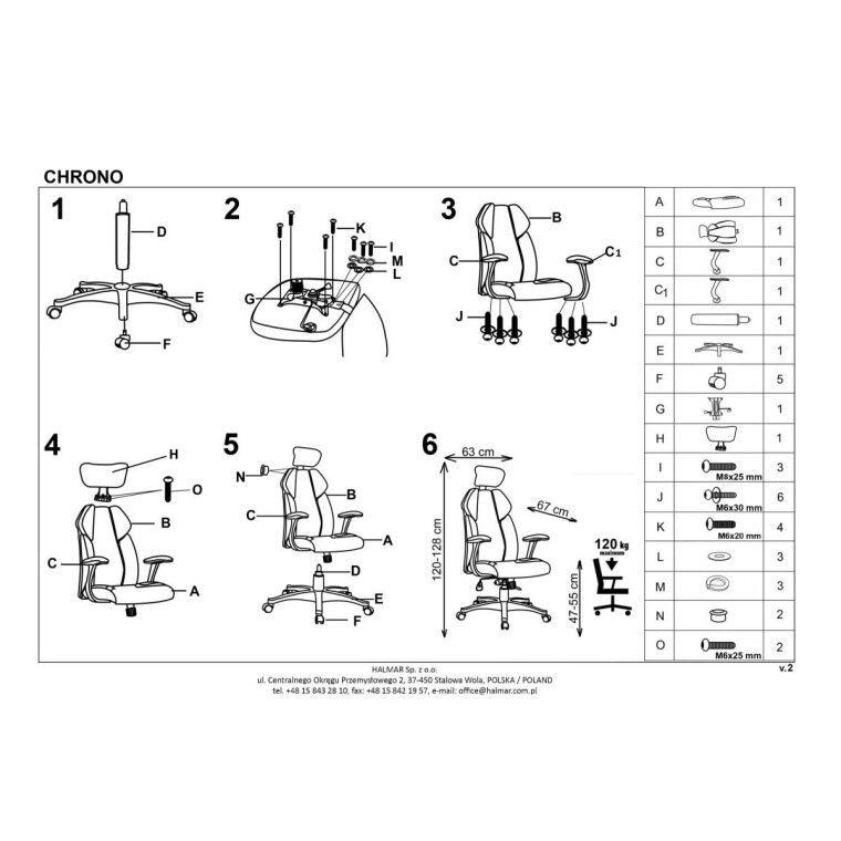 Кресло поворотное Halmar Chrono | Черный / белый - 4
