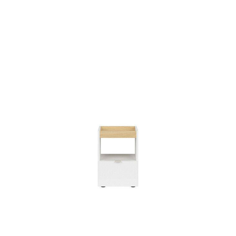 Тумба мобильная BRW Princeton | Белый / Дуб польский / Серый