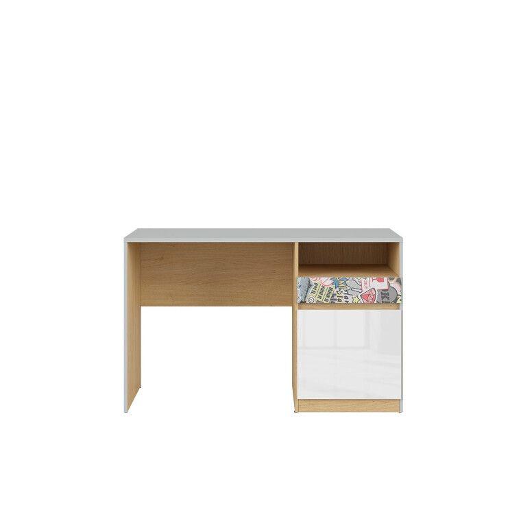 Стол письменный BRW Nandu | Светло-серый / Дуб / Белый глянец / Комикс