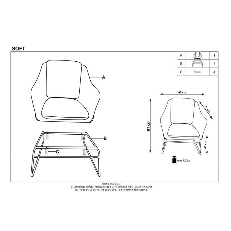 Кресло Halmar Soft 3 | Зеленый - 2