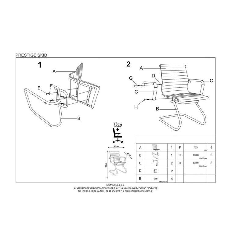 Кресло офисное Halmar Prestige Skid | Кремовый - 2