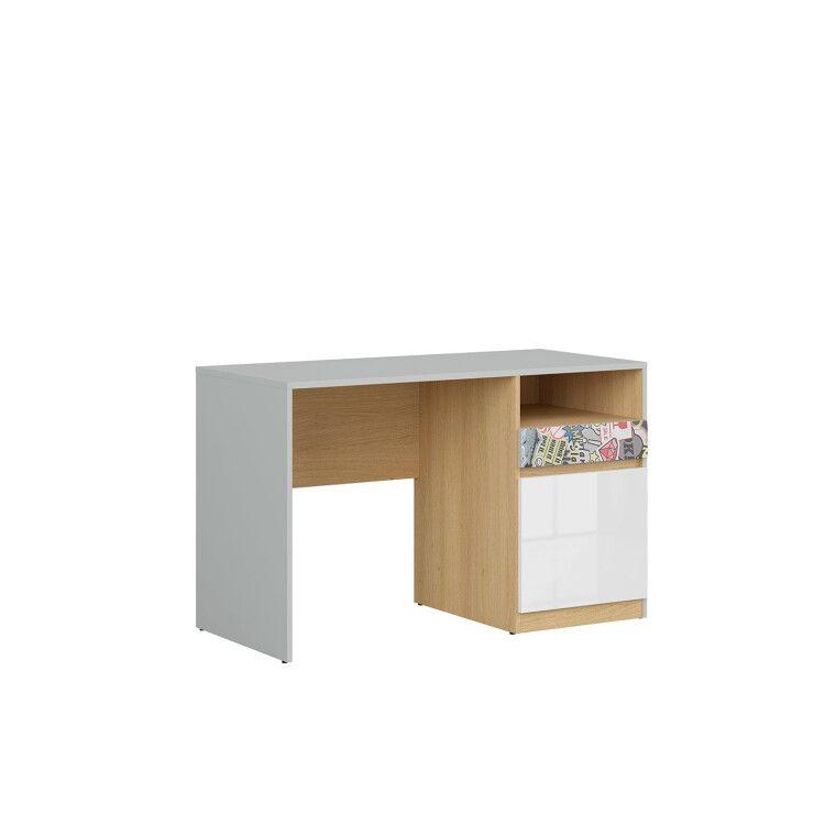 Стол письменный BRW Nandu | Светло-серый / Дуб / Белый глянец / Комикс - 2