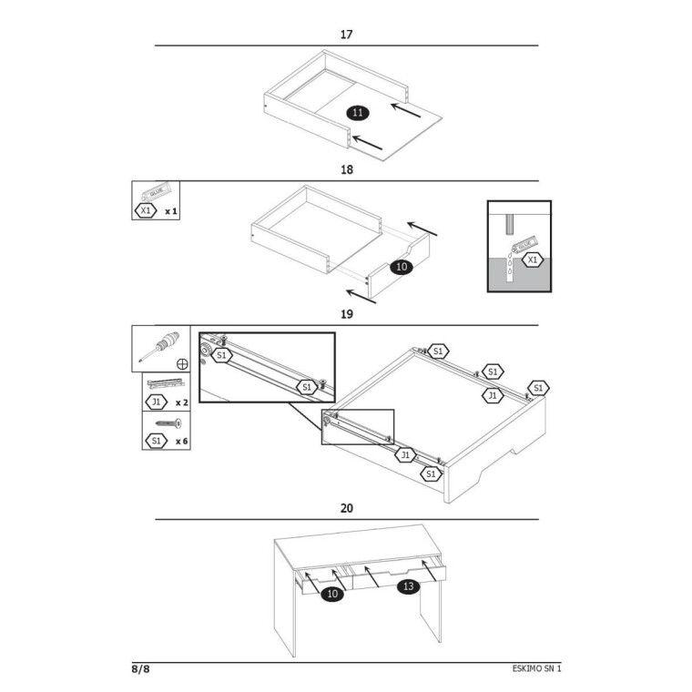 Стол письменный Halmar Eskimo B-1 | Белый - 9