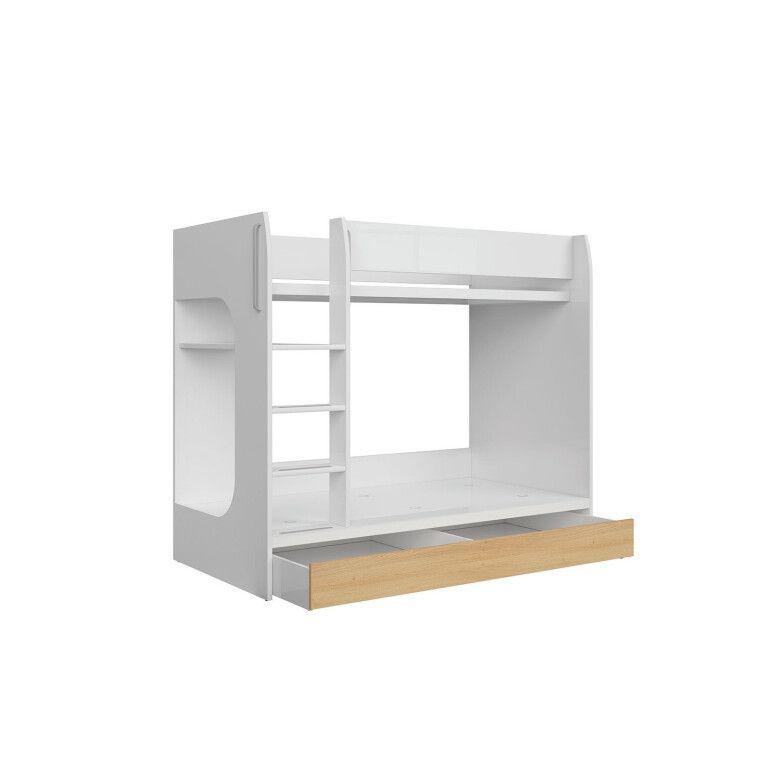 Двухъярусная кровать BRW Princeton   Белый / Дуб польский - 2