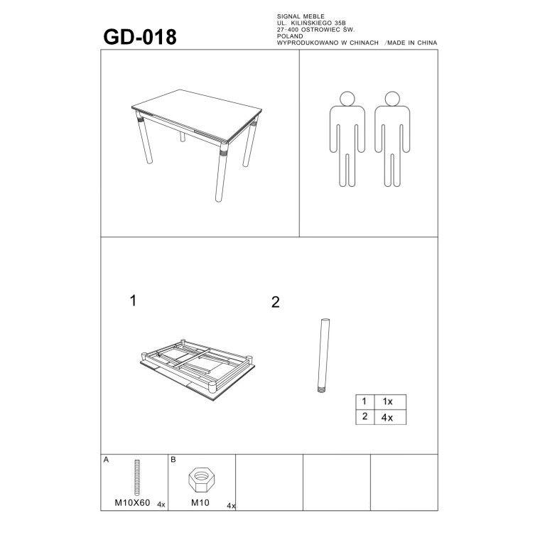 Cтол обеденный Signal  GD-018 | Серый / Хром - 2
