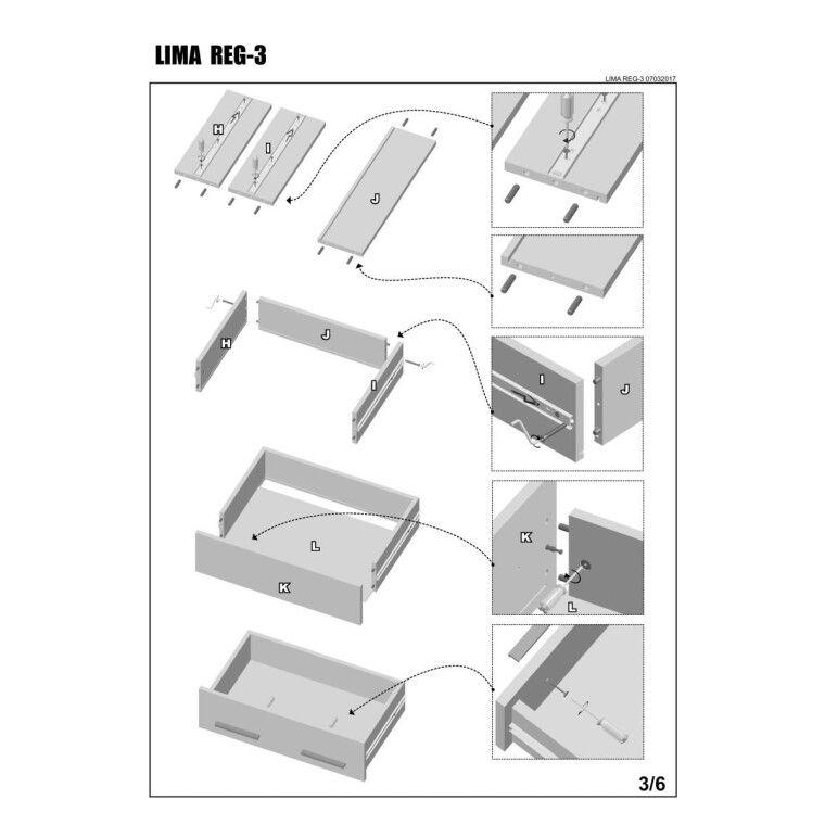 Стеллаж Halmar Lima Reg-3 | Дуб Сонома - 5