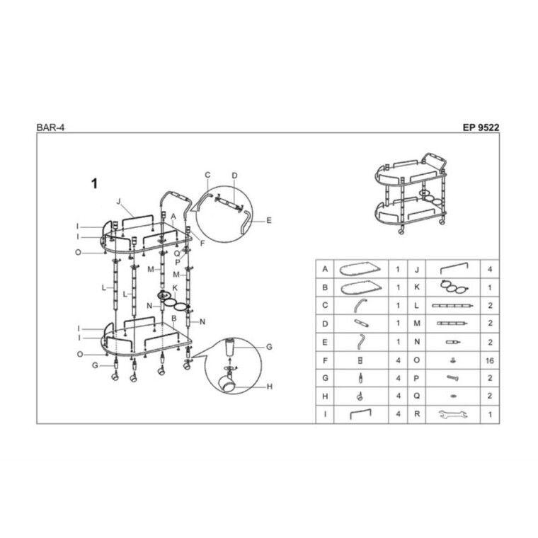 Стол сервировочный Halmar Bar-4 | Бук - 2