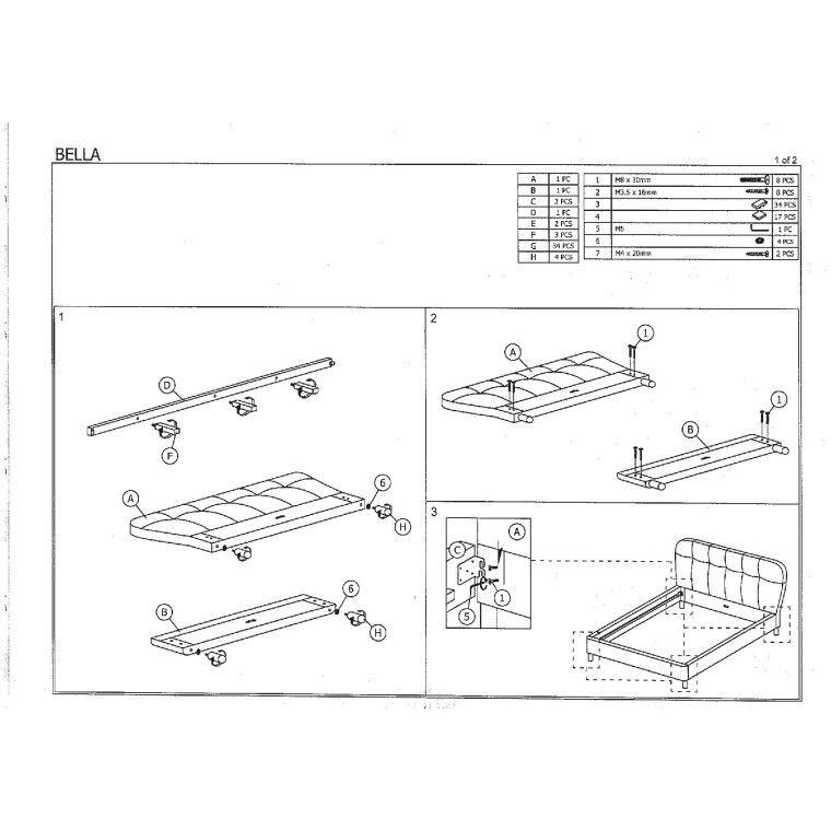 Кровать Signal Bella   160х200 / Серый / Дуб - 2