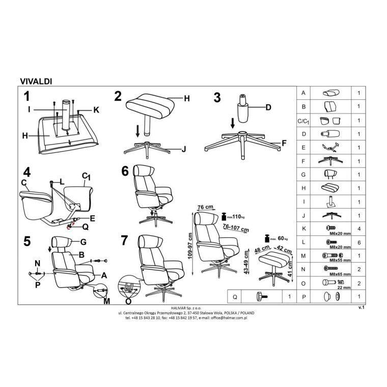 Кресло с подставкой для ног Halmar Vivaldi | Розовый - 2