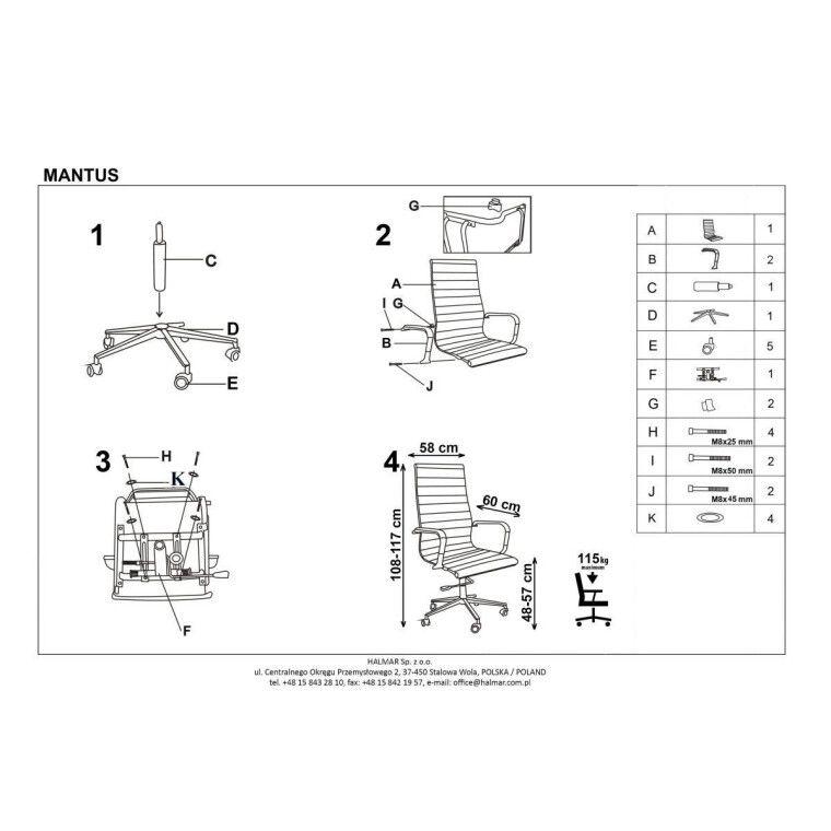 Кресло поворотное Halmar Mantus   Черный - 4