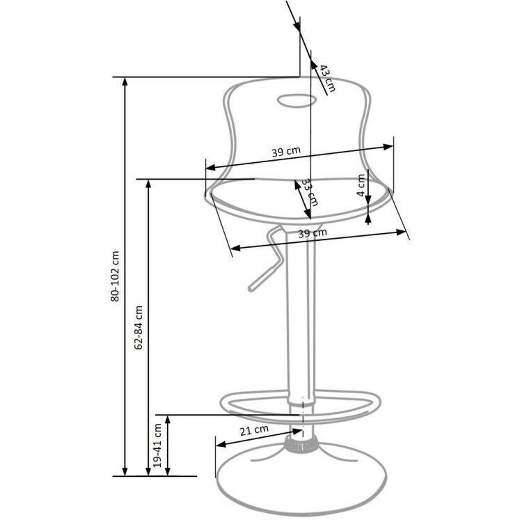 Стілець барний Halmar H-49 | Чорно-білий - 2