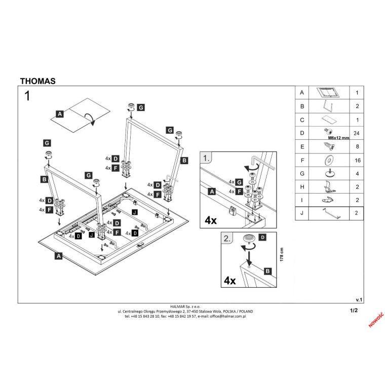 Стол раскладной Halmar Thomas | Белый / Бетон - 2