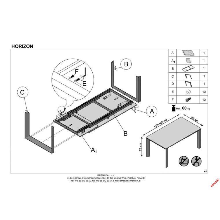Стол раздвижной Halmar Horizon | Серый - 2