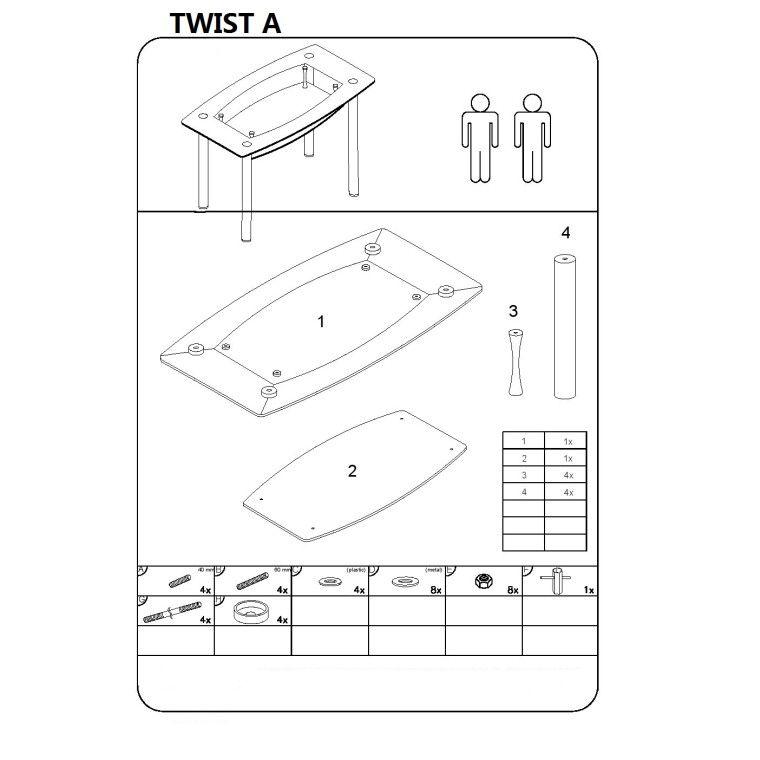 Cтол обеденный Signal Twist A | Красный / черный - 3