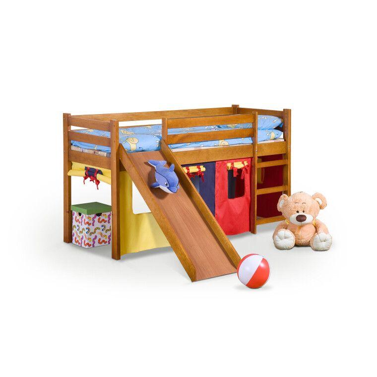 Кровать двухъярусная с горкой Halmar Neo Plus | Сосна