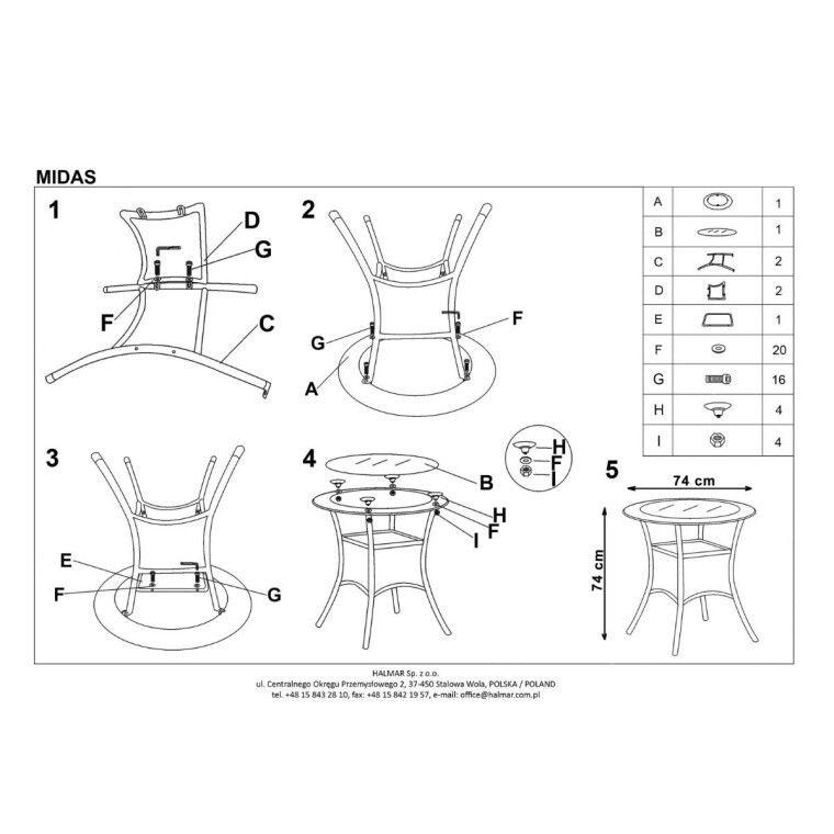 Стол садовый Halmar Midas | Коричневый - 2