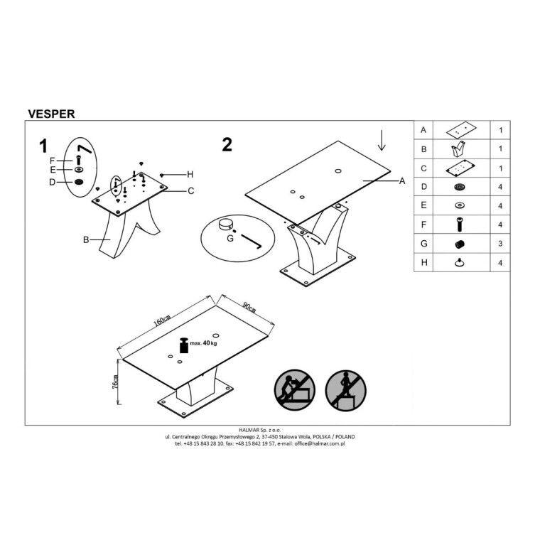 Стіл обідній Halmar Vesper | Чорний - 2