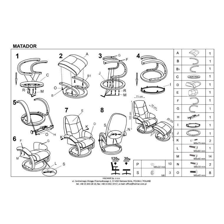 Кресло массажное с подставкой для ног Halmar Matador | Бежевый - 5