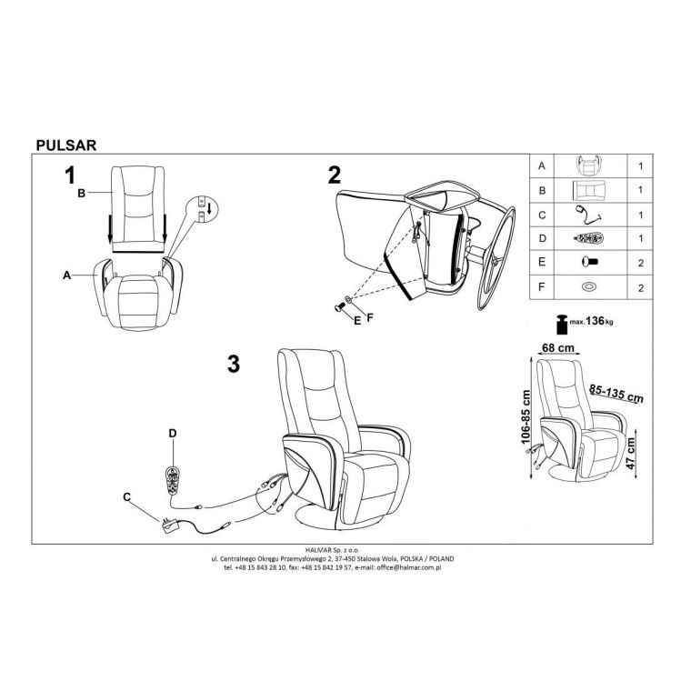Кресло с массажем и подогревом Halmar Pulsar   Серый - 2