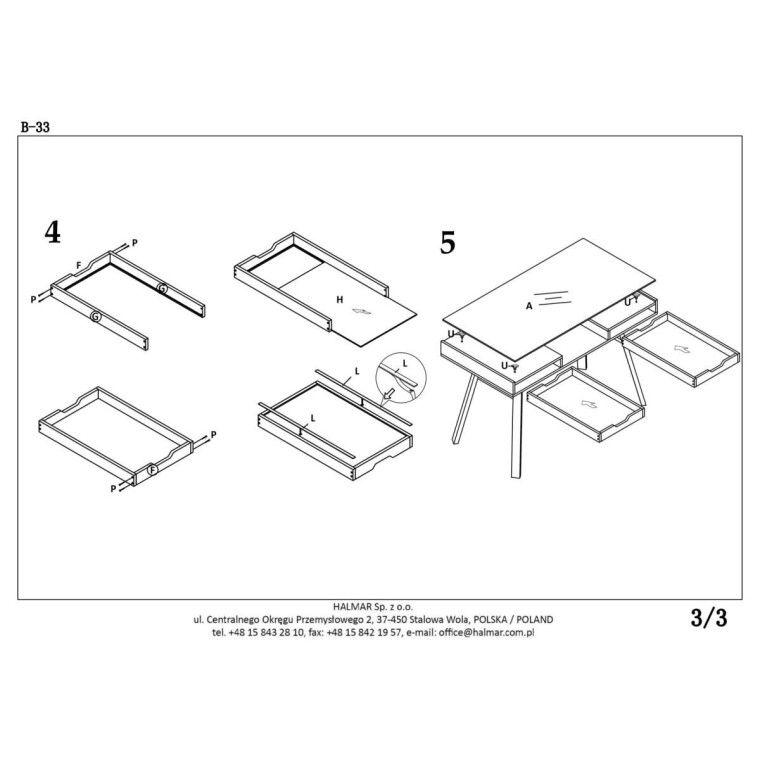 Стол письменный Halmar B-33 | Дуб Сонома / Белый - 4