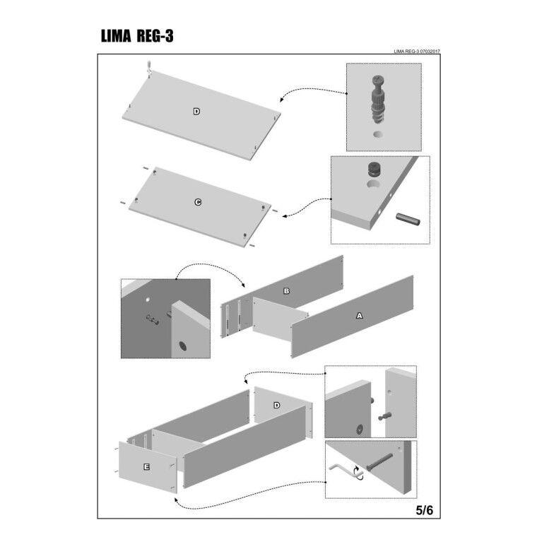 Стеллаж Halmar Lima Reg-3 | Дуб Сонома - 7