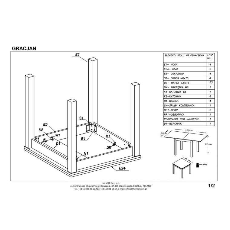 Стол раскладной Halmar Gracjan | Темный орех - 2