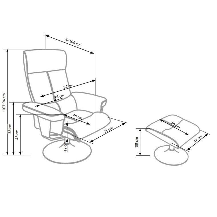 Кресло с подставкой для ног Halmar Dayton | Черный - 2