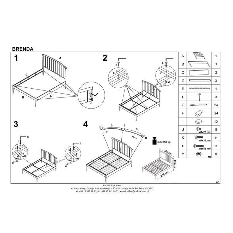Кровать Halmar Brenda | 160х200 / Белый - 2