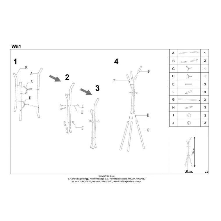 Вешалка Halmar W51 | Белый / бук - 2