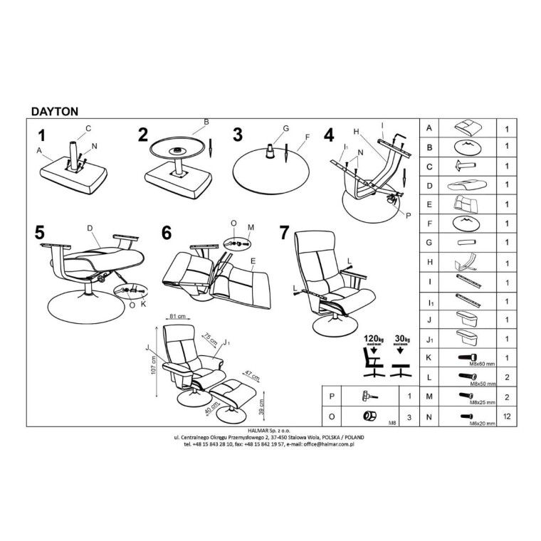 Кресло с подставкой для ног Halmar Dayton | Черный - 3