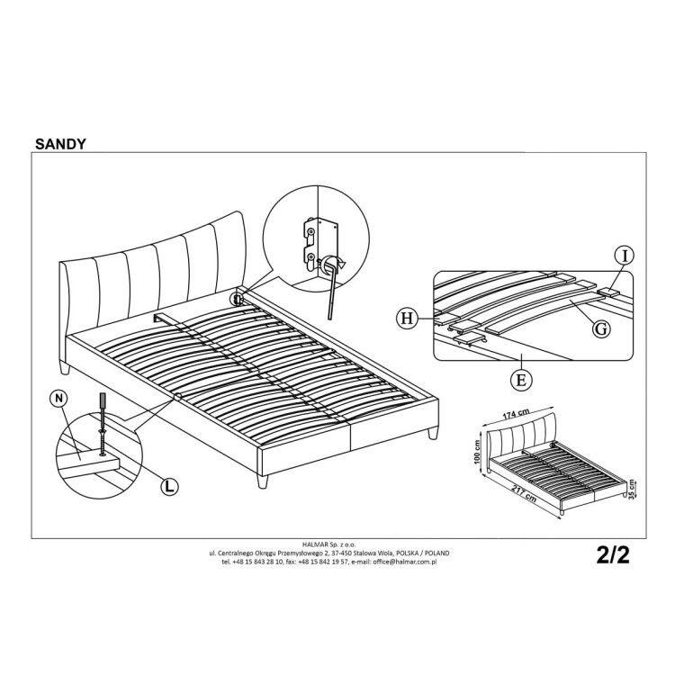Кровать Halmar Sandy | 160х200 / Белый - 3