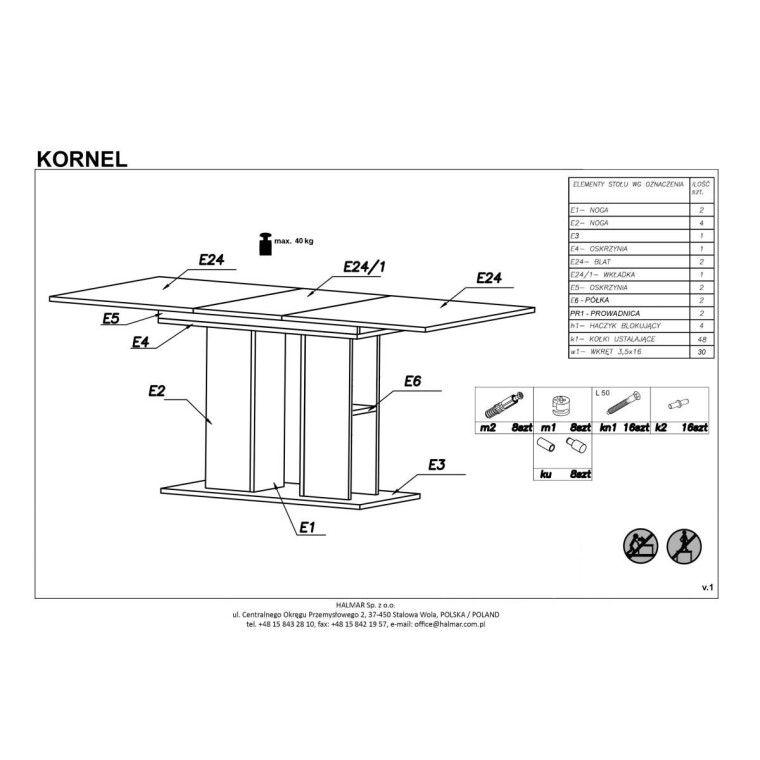 Стол раскладной Halmar Kornel | Белый - 2