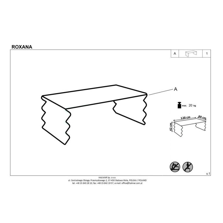 Стол журнальный Halmar Roxana | Прозрачный - 2
