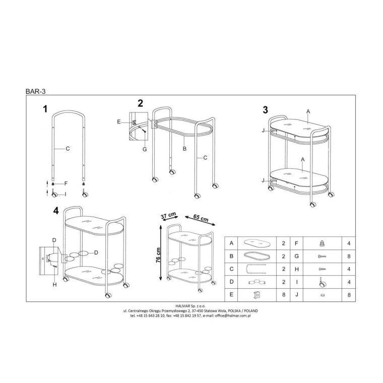 Стол сервировочный Halmar Bar-3 | Черный - 2