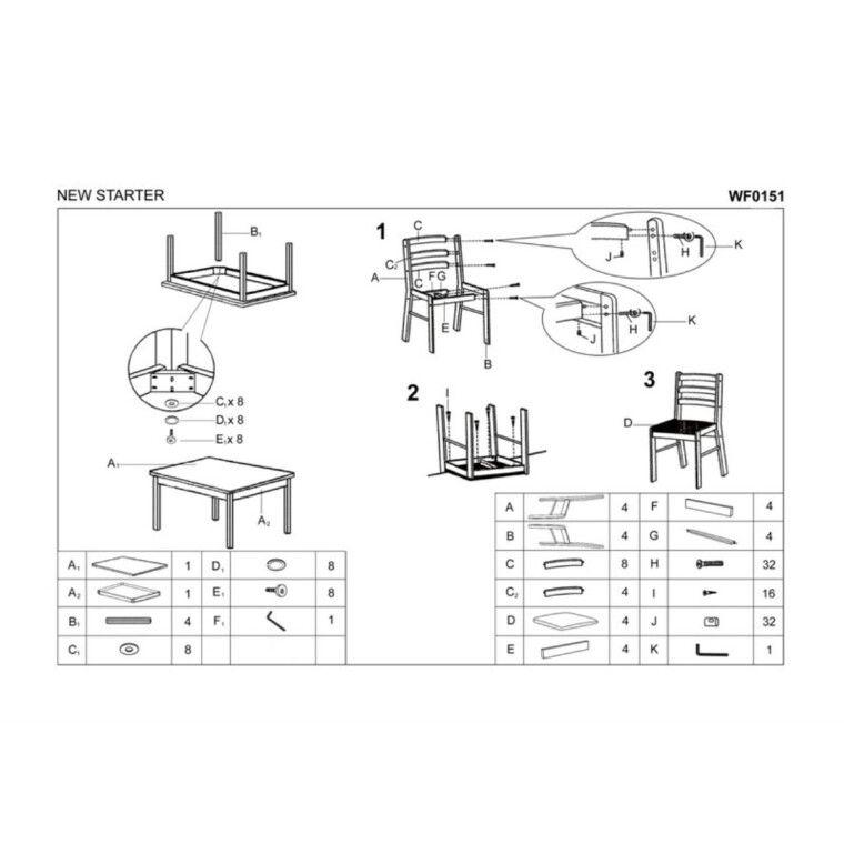 Набор мебели столовой Halmar New Starter | Эспрессо - 2
